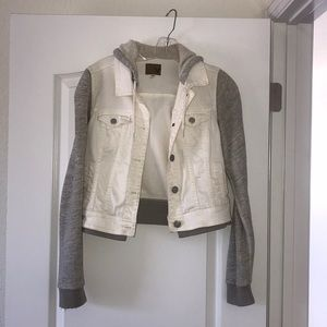 White Denim Jacket with Grey Sleeves